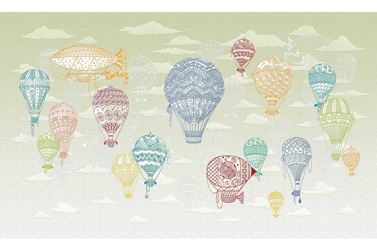 AIR BALLOONS COLORED GREEN SKY
