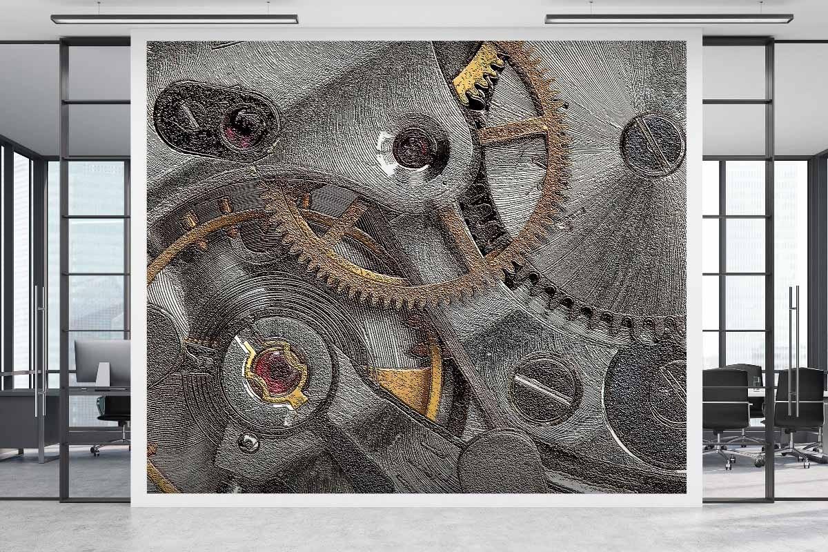3D Ανάγλυφη ταπετσαρία CLOCKWORK