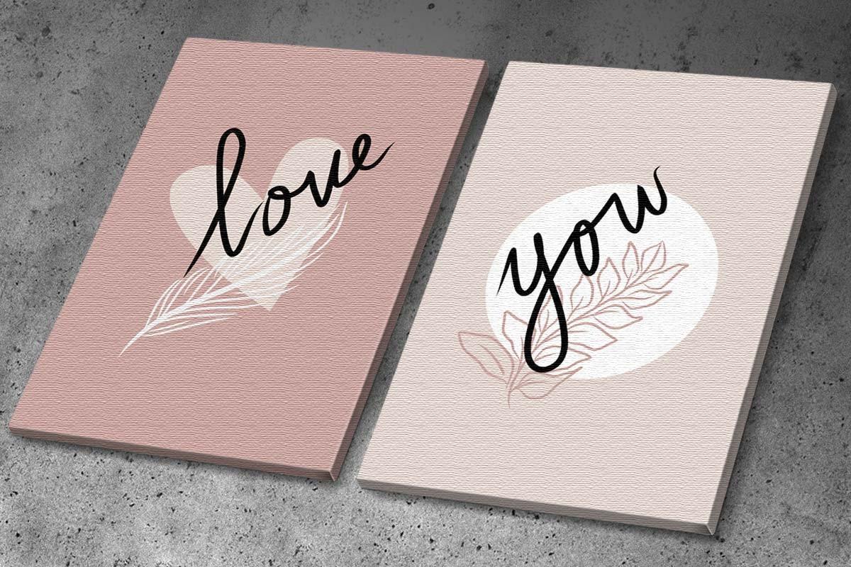Δίπτυχος πίνακας καμβάς LOVE YOU