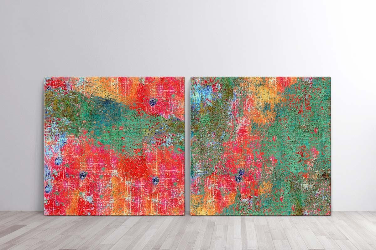 Δίπτυχος πίνακας καμβάς ΠΟΛΥΧΡΩΜΟ GRUNGE ΦΟΝΤΟ