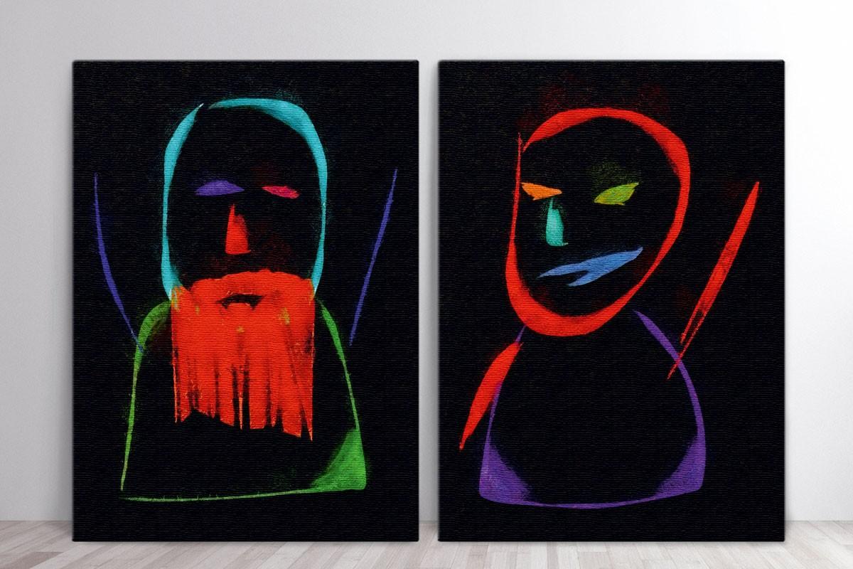 Δίπτυχος πίνακας καμβάς ΑΦΑΙΡΕΤΙΚΕΣ ΦΙΓΟΥΡΕΣ ΣΕ ΜΑΥΡΟ ΦΟΝΤΟ
