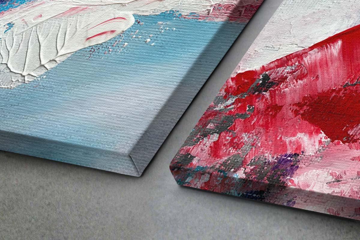 Δίπτυχος πίνακας καμβάς ΕΚΡΗΞΗ ΚΟΚΚΙΝΟΥ ΚΑΙ ΑΣΠΡΟΥ