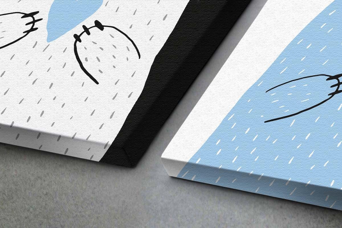 Δίπτυχος πίνακας καμβάς ΑΓΑΠΗΜΕΝΑ ΑΡΚΟΥΔΑΚΙΑ