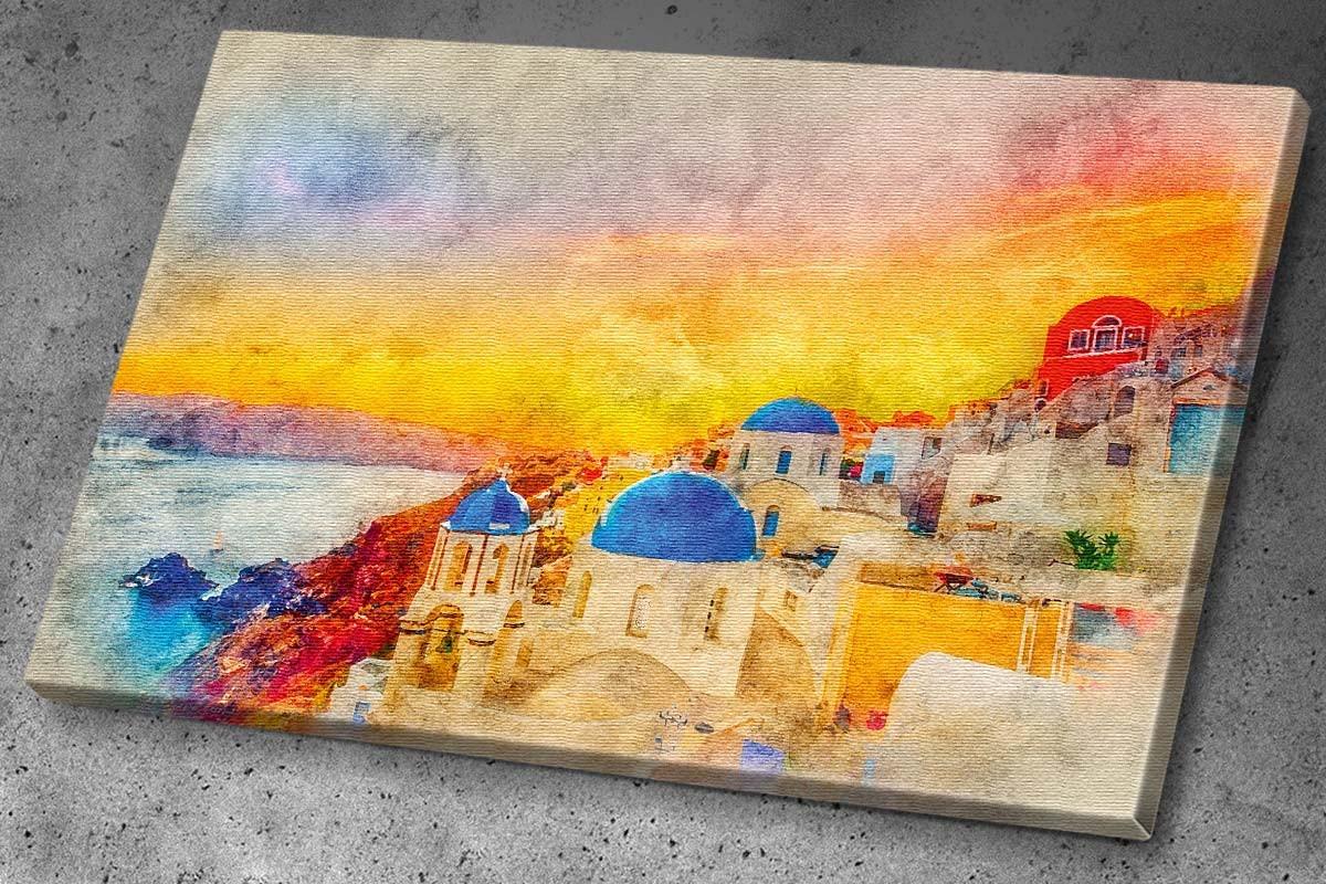 Πίνακας καμβάς ΣΑΝΤΟΡΙΝΗ - ΑΚΟΥΑΡΕΛΑ