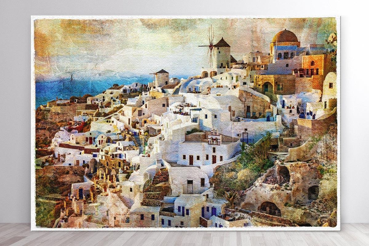 Πίνακας καμβάς ΗΛΙΟΒΑΣΙΛΕΜΑ ΣΤΗ ΣΑΝΤΟΡΙΝΗ
