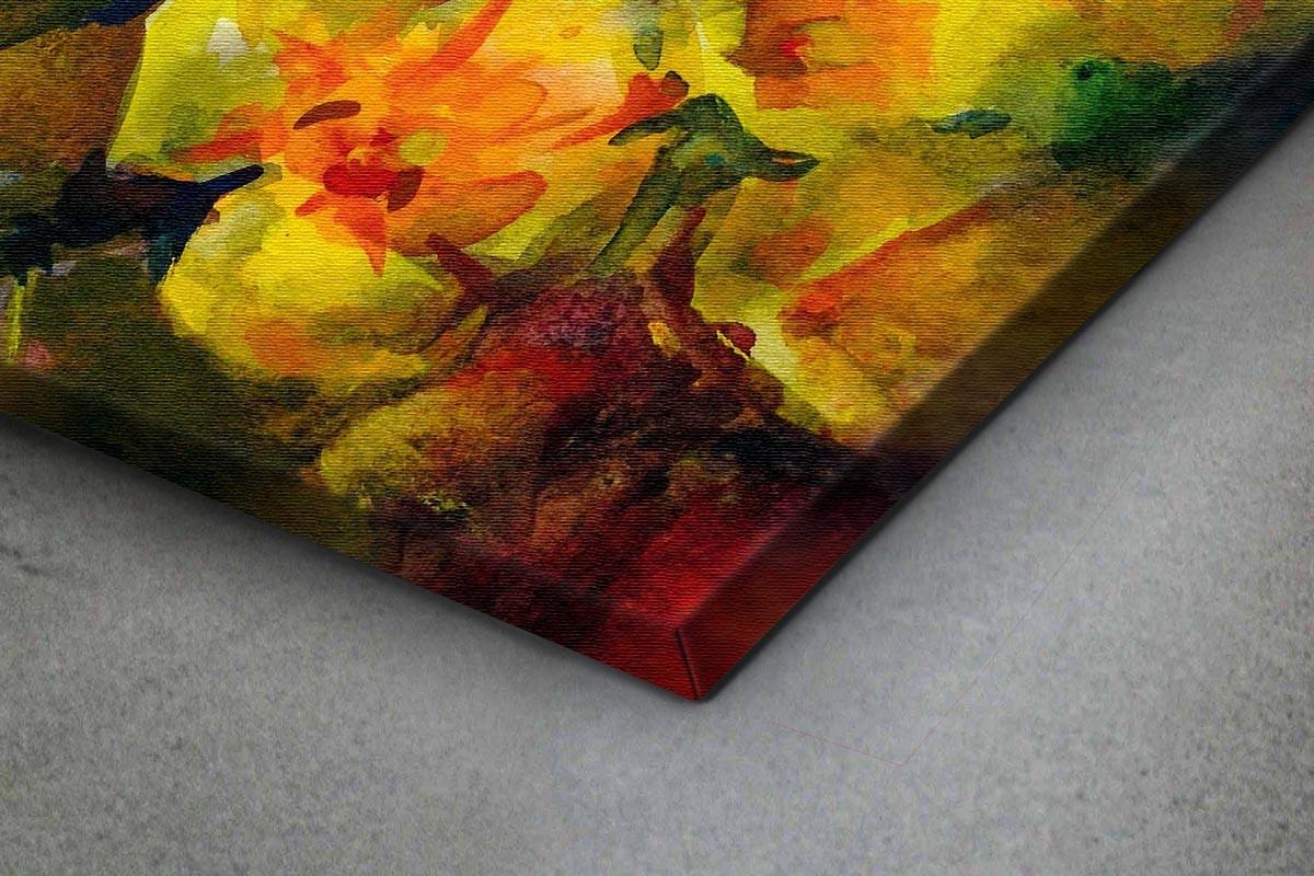 Πίνακας καμβάς ΚΙΤΡΙΝΑ & ΜΩΒ ΛΟΥΛΟΥΔΙΑ
