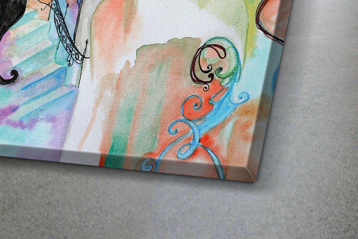 Πίνακας καμβάς ΓΥΝΑΙΚΑ ΚΑΙ ΓΑΤΑ - ART NOUVEAU