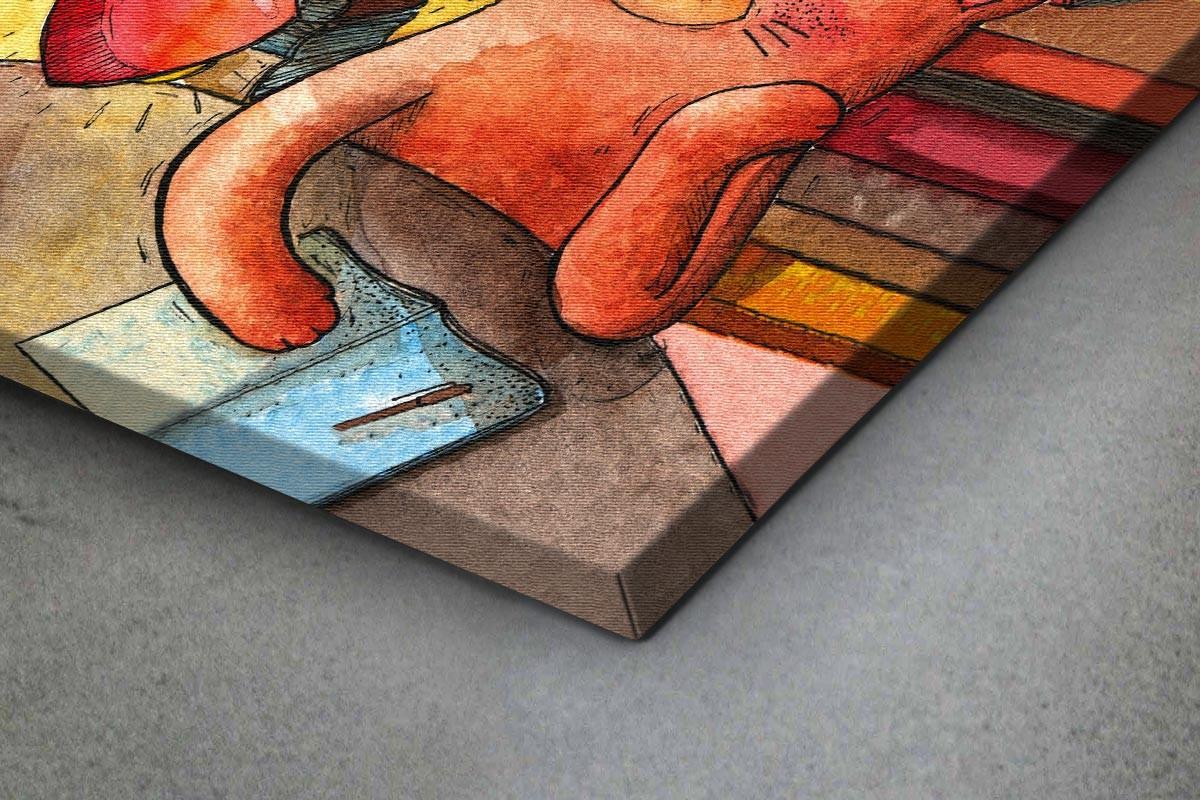 Πίνακας καμβάς ΓΑΤΟΥΛΑ ΣΤΗ ΒΙΒΛΙΟΘΗΚΗ
