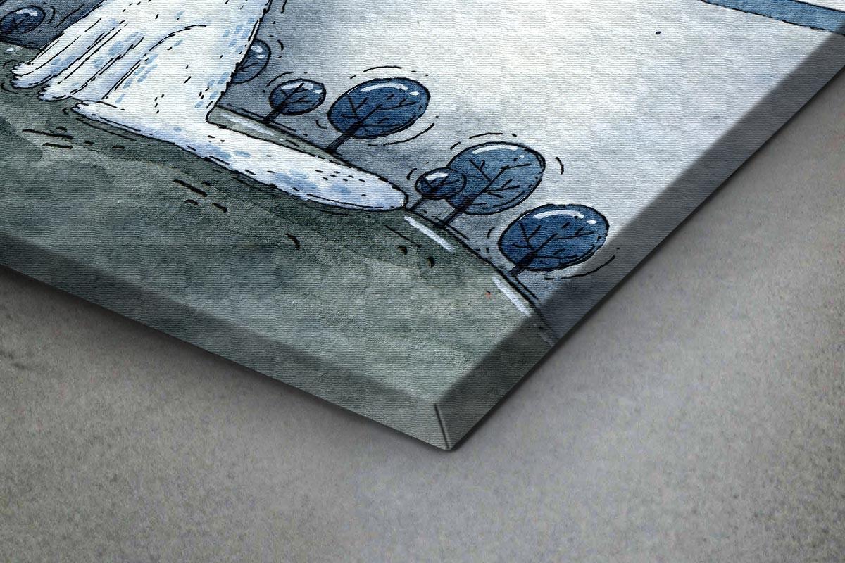 Πίνακας καμβάς ΛΕΥΚΟΣ ΜΙΚΡΟΣ ΛΥΚΟΣ ΚΑΙ ΦΕΓΓΑΡΙ