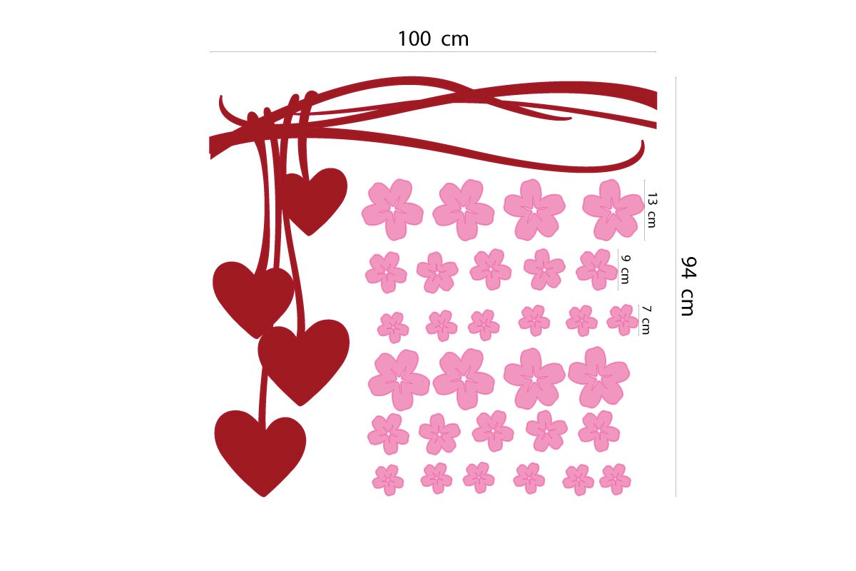 Wall sticker HANGING HEARTS & FLOWERS