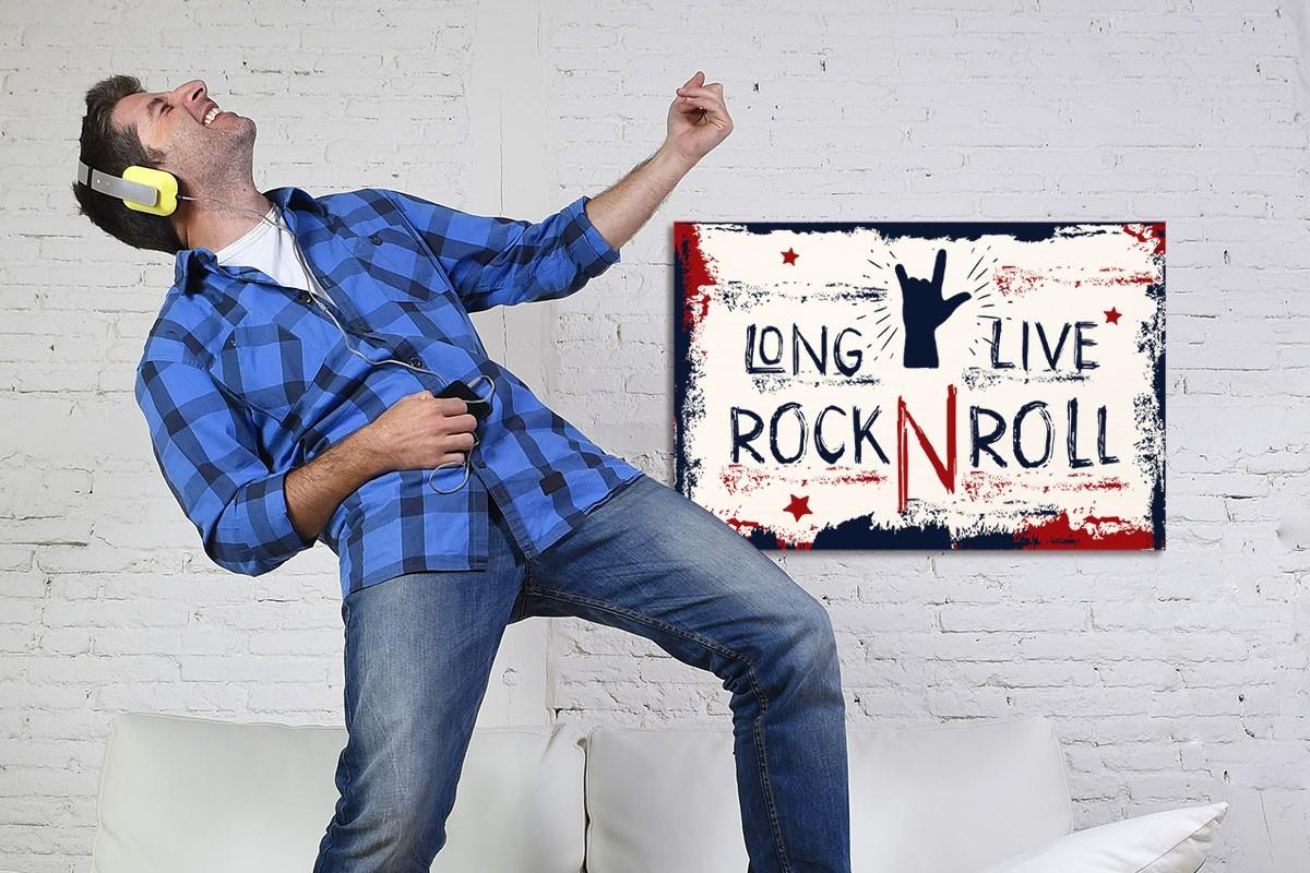 Ξύλινο πόστερ LONG LIVE ROCK & ROLL