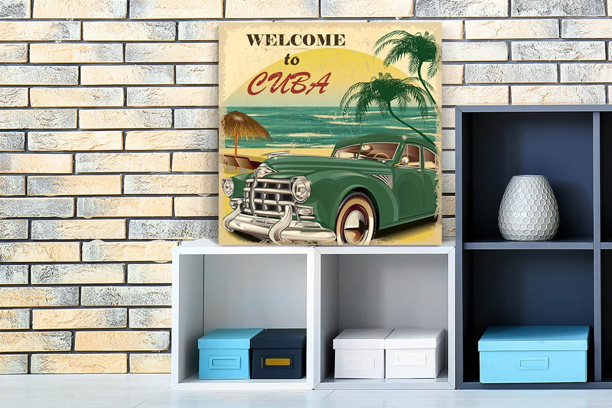 Ξύλινο πόστερ WELCOME TO CUBA