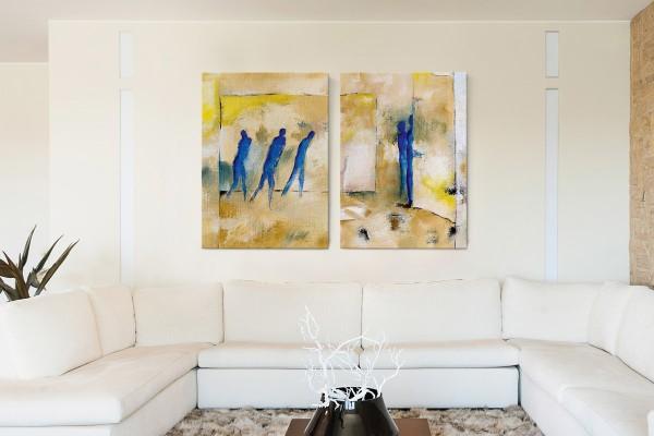 Δίπτυχος πίνακας καμβάς BLUE SILHOUETTES