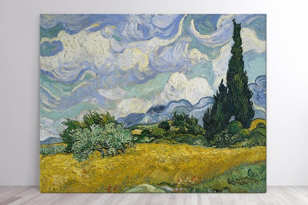 Πίνακας καμβάς WHEAT FIELD WITH CYPRESSES - VAN GOGH
