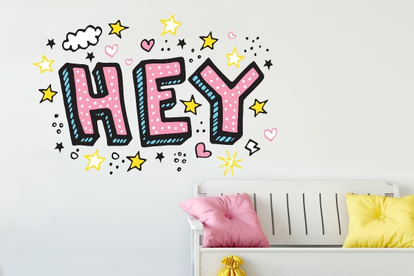 Αυτοκόλλητο τοίχου HEY