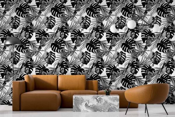 Ταπετσαρία τοίχου ΠΑΠΑΓΑΛΟΙ B&W