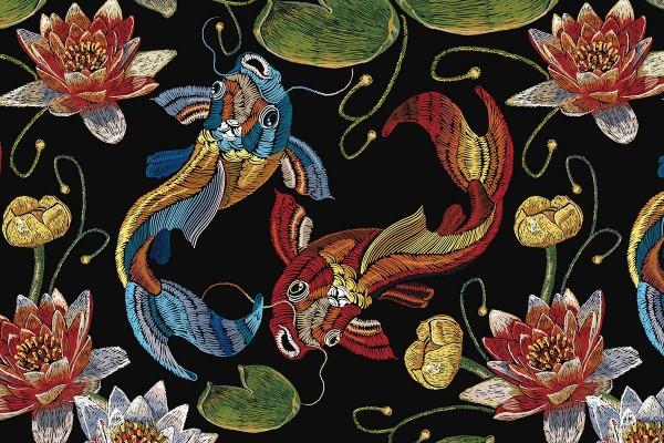 Ταπετσαρία τοίχου KOI FISH ΚΑΙ ΝΟΥΦΑΡΑ