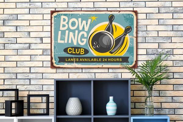 Ξύλινο πόστερ BOWLING CLUB