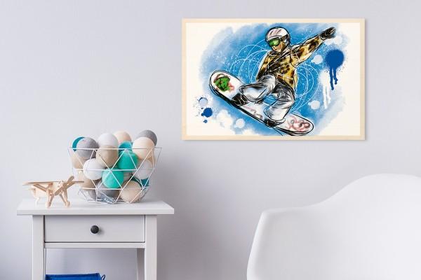 Ξύλινο πόστερ SNOWBOARDER