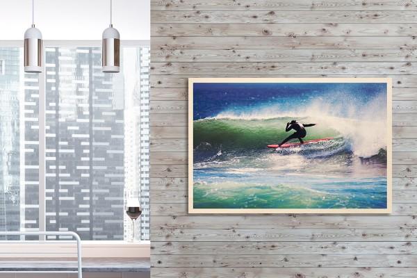 Ξύλινο πόστερ SURFING ΣΤΑ ΚΥΜΑΤΑ