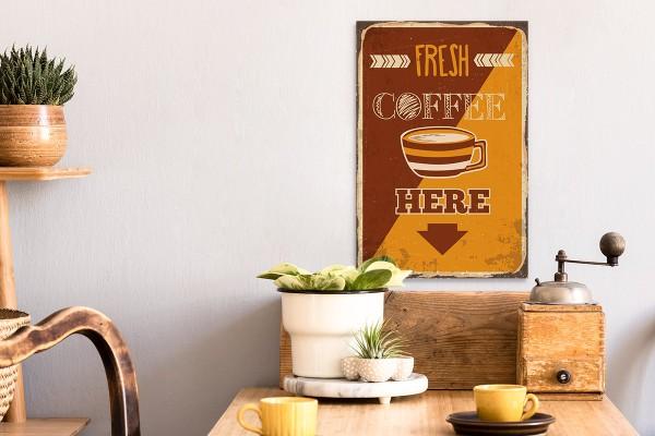Ξύλινο πόστερ FRESH COFFEE HERE