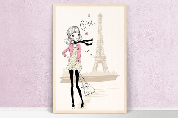 Ξύλινο πόστερ SHOPPING GIRL IN PARIS