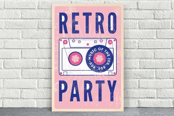 Ξύλινο πόστερ RETRO MUSIC PARTY