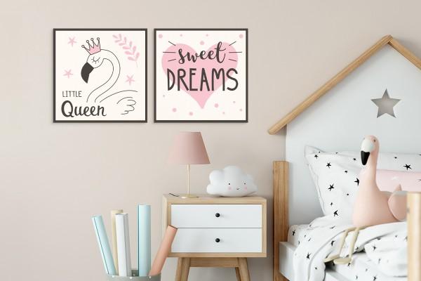 Σετ ξύλινα πόστερ SWEET DREAMS LITTLE QUEEN