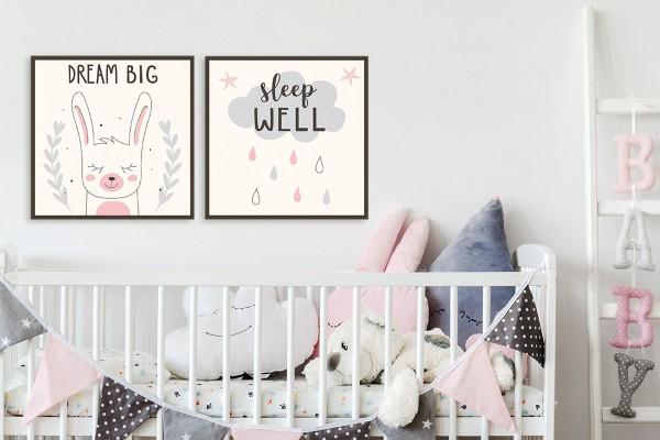 Σετ ξύλινα πόστερ DREAM BIG! SLEEP WELL!